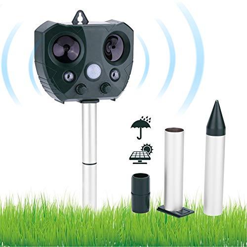 【2021進化版】動物撃退器 超音波 猫よけ 害獣撃退 ソーラー充電 USB充電 IPX4防水 防塵 LED強力フラッシュライト 糞被害 鳥害対策 猫除け 鳥除け 犬除け 超音波 安全で無害