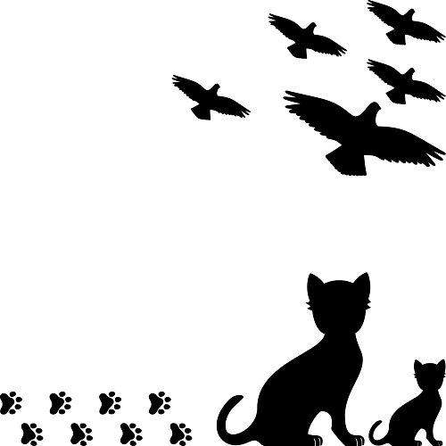 Set 15 Teile Vogel Vögel Katze Katzen Pfötchen Aufkleber die cut Tattoo Warnvögel Fenster Schutz gegen Vogelschlag Deko Folie (schwarz)