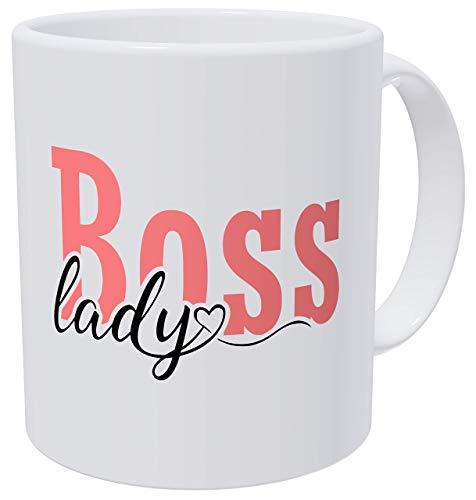Boss Lady Pink Cursive Typography Heart Birthday For Women and Boss Lady Gifts - Tazas de café para mujer (300 g), diseño de corazón