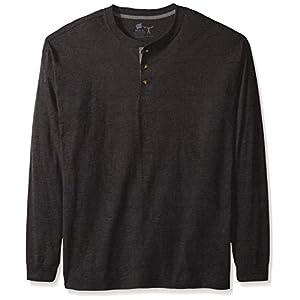 Hanes Men's Beefy Long Sleeve Henley Shirt, Slate Heather, X Large