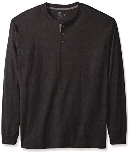 Hanes mens Long Sleeve Beefy Henley Shirt Slate Heather X Large