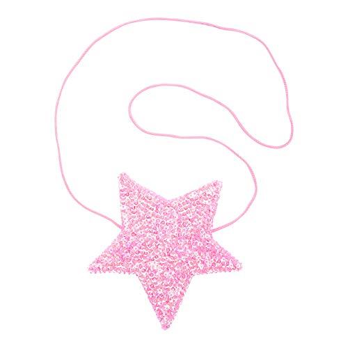 Shu-Shi Girls Sequin Star Shaped Purse Bag Long Ribbon Strap