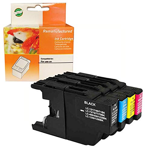 ZET Remanufactured Ink Cartridge Replacement for Brother LC12 LC40 LC71 LC73 LC75 LC79 Use in MFC-J6510DW MFC-J6710DW MFC-J6910DW MFC-J280W MFC-J425W (1 Black, 1 Cyan, 1 Magenta, 1 Yellow)