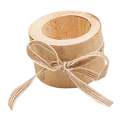 Små ljusljushållare med bowknot Bark Träpelare Ljusstakehållare för bröllop, fest, födelsedag, semesterdekoration