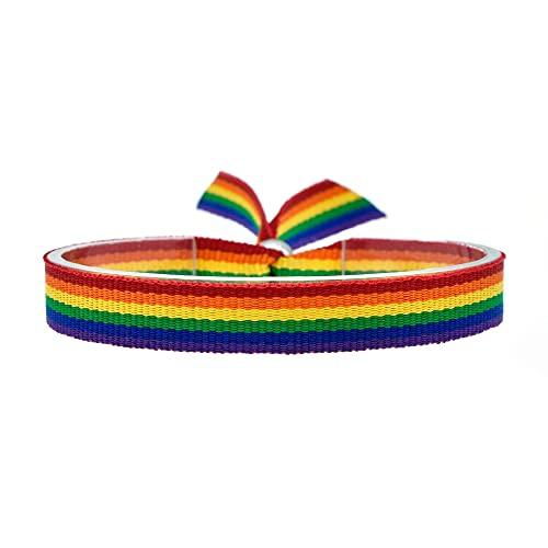 BDM Pulsera con la Bandera LGTBI de Tela, Ajustable para Hombre y Mujer. Ancho de 10mm.