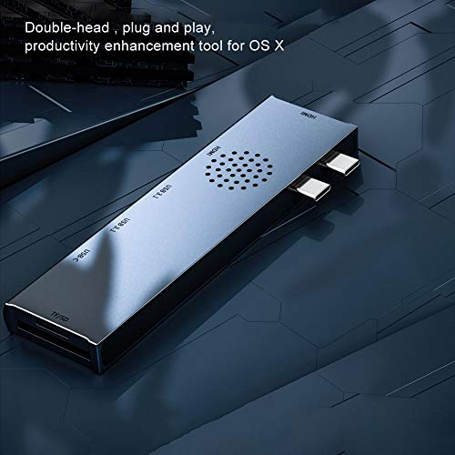Dockingstation Hub, USB3.1 60W 30Hz Eingebaute Kühllöcher Dockingstation mit Multi-Screen-Modus für Laptop und Desktop (Silber)