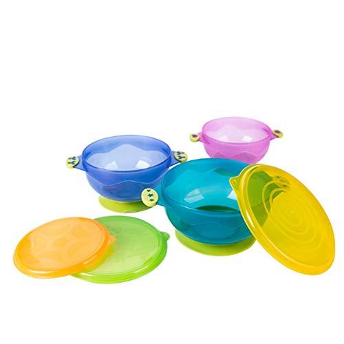 Naisicatar Bébé Sucker Bowl bébé aspiration d'alimentation Bols avec couvercle nourrisson supplémentaire alimentaire Vaisselle Jeu de 3 (couleur aléatoire) Conçu pour enfants