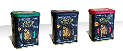 Caballo de Oros Pimentón de la Vera D.O.P. Pack de tres sabores, Dulce, Agridulce y Picante - 75 g