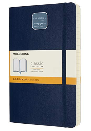 "Moleskine Classic Expanded Notebook, Soft Cover, Large (5"" x 8.25"") Ruled/Lined, Sapphire Blue, 400 Pages"