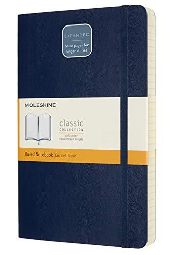 Moleskine - Klassisches Notizbuch, Linierte Seiten, Softcover und elastischer Verschluss, Größe 13 x 21 cm, Farbe saphir blau, 400 Seiten