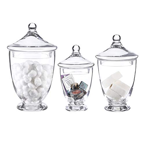 Whole Housewares Clear Glass Apothecary Jars-Cotton Jar-Bathroom Storage Organizer Canisters Set of 3