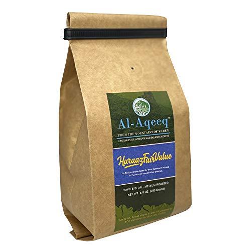 Al-Aqeeq: Whole Bean Yemen Coffee| Haraaz Coffee Beans| Authentic Yemeni Coffee| Freshly Roasted Yemen Coffee | Coffee From Around The World| Arabica Coffee Beans| Specialty Coffee| Medium-Roasted