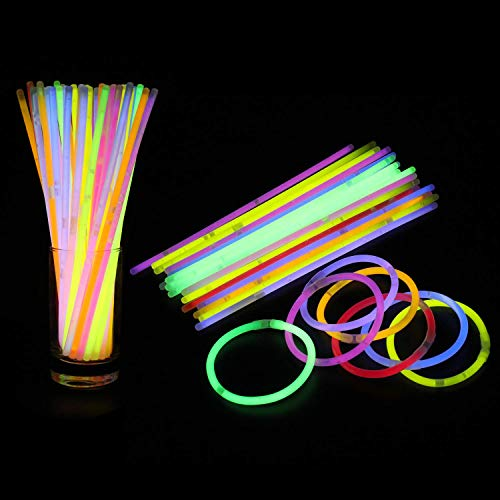 Weddecor Glow Sticks Party Pack 8' Mixed Color Light Sticks to make Neon Necklace Bracelets Wrist Band Eye Glasses for Birthday, Anniversary, Party Supplies, 25pcs