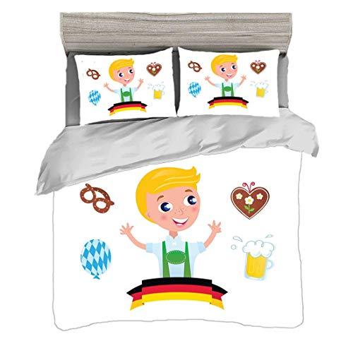 Bettwäscheset Super King Size (240 x 260 cm) mit 2 Kissenbezügen Deutsche Mikrofaser-Bettwäsche-Sets Bayerischer Junge mit blonden Haaren mit Oktoberfest-Symbolen Bierballon und Brezel,mehrfarbig,Pfle