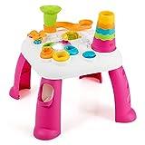 COSTWAY 2 in 1 Baby Lerntisch, Spieltisch zum Stehen & Sitzen, Lernspielzeug mit Sound, Licht, Musikfunktionen, Bausteinen und Jenga, Spielcenter ideal ab 12 Monaten, bunt