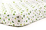 Tractor Fitted Crib Sheet, displaying John Deere Tractors and Logos, White