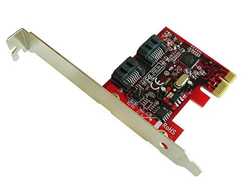 Kalea Informatique Controllerkarte PCIe SATA 3.0 – 2 Ports – RAID 0 / 1 – Chipsatz Marvell 88SE9128-NAA2 – Profi-Serie / hohe Qualität – Treiber vorinstalliert für Windows/Mac/Linux