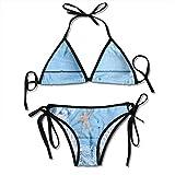 Starfish On Wood Bikini para mujer String 2 piezas Halter Traje de baño sexy Triángulo Trajes de baño Set Negro