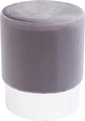 Kare Design Polsterhocker Cherry Brass, kleiner, moderner Design Hocker mit Samtbezug, rund, 35 cm, Hellgrau-silber, Fußhocker, (H/B/T) 42x35x35cm