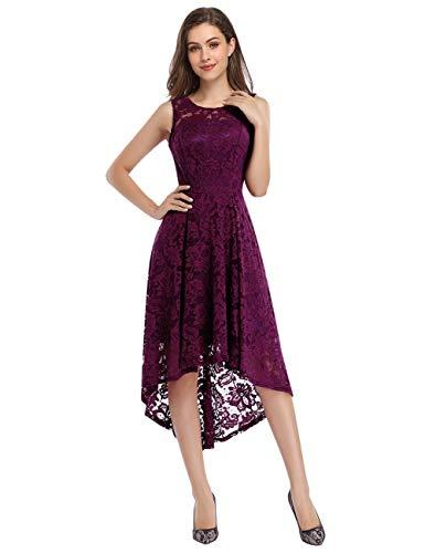 KOJOOIN Damen Abendkleider Cocktailkleid Brautjungfernkleider für Hochzeit Unregelmässiges Kurzespitzenkleid Ärmellos Grape/38-40,M