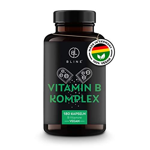 BLINE® Premium Vitamin B-Komplex VEGAN, hochdosiert | B12, 200µg Biotin, 800µg Folsäure, [180] Kapseln – Vitamin B1, B2, B3, B5, B6, B7, B9, B12 – Laborgeprüft – Deutsche Produktion