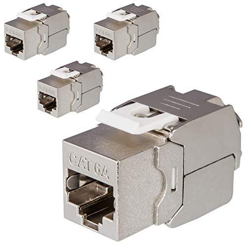 4X HB-DIGITAL Cat.6a Keystone RJ-45 Buchse frontal Modul bis zu 500 MHz 10Gbit/s vollgeschirmt werkzeuglos Cat6a cat6 STP Kupplung Netzwerk Einbaubuchse für Patchpanel Verlegekabel Ethernet LAN