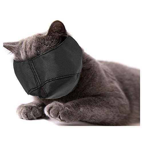 Xbes Nylon Cat Muzzles,Cat Face Mask,Groomer Helpers,Cat Grooming Tools,Preventing Scratches and Anti-Biting,Black (S)