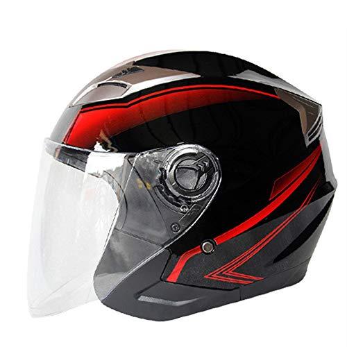 LCSD Casco de motocicleta para coche eléctrico con doble lente y medio casco de verano para la temporada media cubierta de seguridad, color negro, rojo y gris (talla M: M)