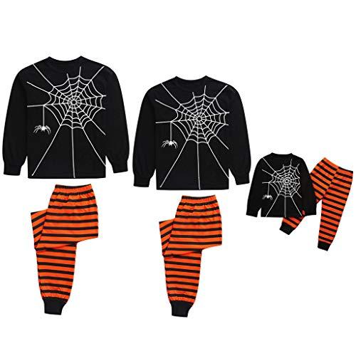 Rayas Pijama de Halloween para Familia Hombre Mujer y Niños Pijamas Estampado de Telaraña Padres e Hijos Pijama Party Ropa de Dormir de Manga Larga Conjunto de Camisetas y Pantalones POLP