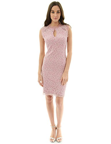 PattyBoutik Women Sleeveless Keyhole Floral Lace Sheath Dress (Pink Large)
