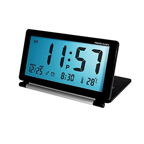 WBTY Digitaler Reisewecker, batteriebetrieben, LCD-Uhr mit Datum, Temperatur, Schlummerfunktion, Nachtlicht und Kunstlederbezug