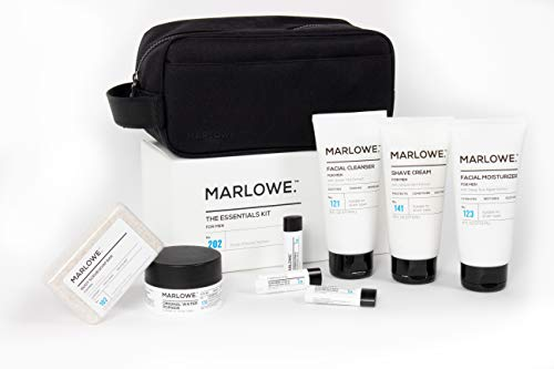 MARLOWE. Essentials Kit for Men No. 202 | Gift Set with 9 Products, Toiletry Bag | Lotion, Shave, Wash, Soap, Pomade, Lip Balm | Simple & Effective