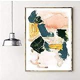 Póster Obras de arte Póster abstracto Impresiones de arte en colores pastel Pintura de arte moderno Trazo de pincel neutro Cuadros de pared Decoración del hogar 60x80cm sin marco