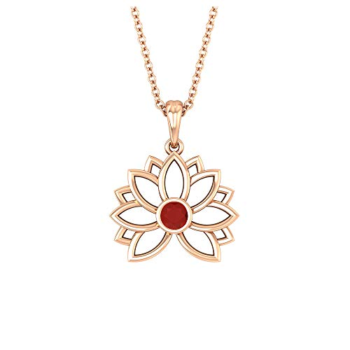 Colgante de flor de loto, collar solitario, 3 mm de forma redonda de ónix rojo, colección de joyas florales de oro macizo, regalo de San Valentín para ella,10K Oro rosa Con cadena