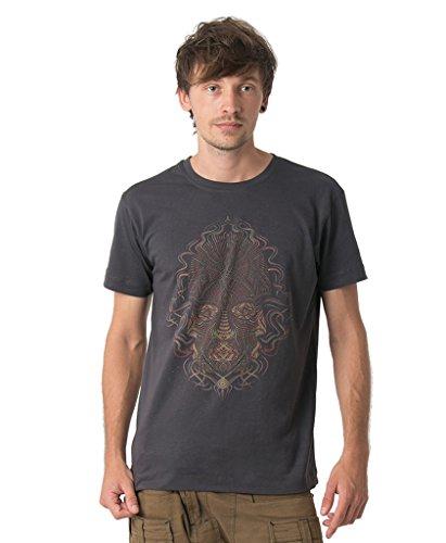 Trimurti Herren T-Shirt 100% Bedruckt mit exklusivem Psychodelischem Design - in Grau - Large