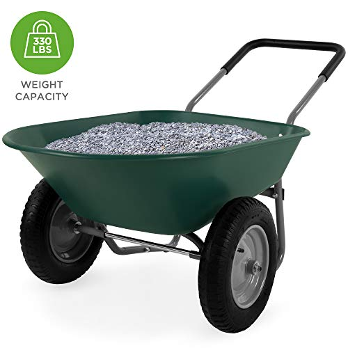 Best Choice Products Dual-Wheel Home Wheelbarrow Yard Garden Cart for Lawn, Construction - Green