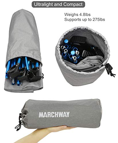 MARCHWAY Ultralight Folding Tent Camping Cot Bed, Portable Compact for Outdoor Travel, Base Camp, Hiking, Mountaineering, Lightweight Backpacking (Grey)