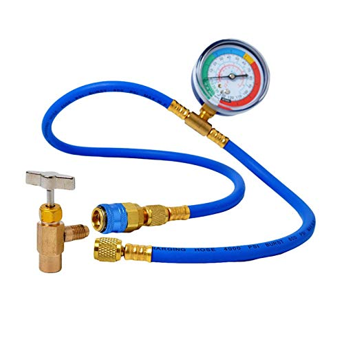 IUANC Manguera de refrigerante Aire Acondicionado CA Aire Acondicionado R134A Refrigerante Recarga de Recarga Manguito Kit de medición Copos Auto Auto Accesorios (Color : 1 Set R134A Gauge)