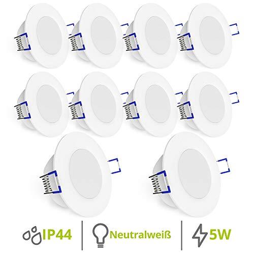 linovum WEEVO IP44 LED Decken Einbauleuchten 10er Set extra flach - Strahler Spot neutralweiß für Bad, Küche, Möbel, Außen
