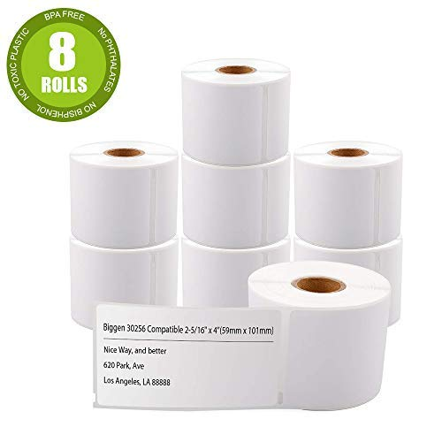 """Biggen Compatible Paper Roll Replacement for DYMO 30256 Large Shipping Postage 2-5/16"""" x 4"""", Labels for Dymo LabelWriter 400 450 Duo Twin Turbo 4XL Printer, 300 Labels Per Roll (8 Rolls)"""