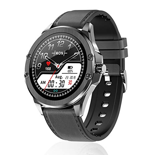 FMSBSC Reloj Inteligente para Mujer Hombre, Smartwatch Pulsómetros IP67 a Prueba de Agua Reloj Digital con Step Calories Monitor de Sueño, Reloj de Fitness con iOS Android,Black b