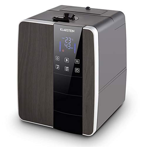 KLARSTEIN Montreal L Humidificador - Ionizador, Humedecedor, Sensor ultrasónico, Función de Calor, Capacidad: 350ml/h, Tanque de Agua: 6L, Display LED táctil, Marrón Oscuro