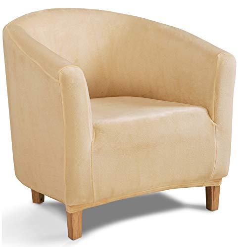 TIANSHU Copridivano Tub Chair in Velluto,Copridivani in Morbido Peluche di Velluto per Divano Fodere per mobili di Lusso alla Moda(Tub Chair,Giallo ambrato)