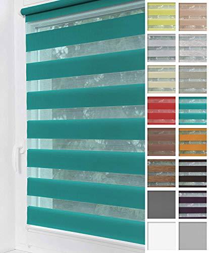 Home-Vision® Duo Rollo Klemmfix, Doppelrollo ohne Bohren mit Klämmträgern, Rollos für Fenster und Türen (Türkis, B85cm x H150cm)