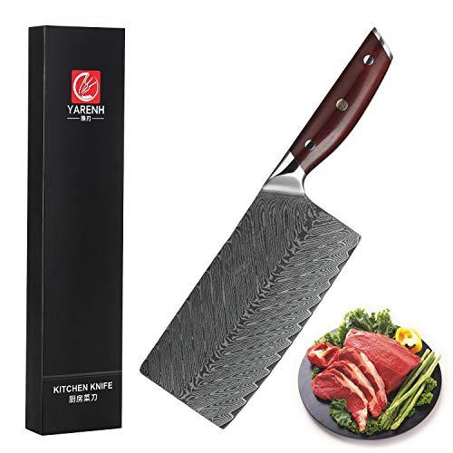 YARENH Coltello Cucina Professionali - Mannaia Cucina 17cm - Coltelli Cucina in Acciaio Giapponese Damasco & Dalbergia della Manico,Global Coltelli da Chef KTF-Serie