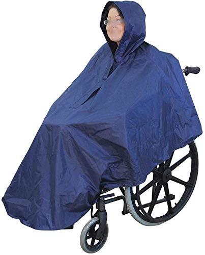 DCZ Völlig wasserdicht Rollstuhl Poncho for Rollstuhl mit Kapuze Rollstuhl Ultralight Regen Abdeckung Regen-Gang, Wasser & Reißfest, Secure Halsverschluss, über Knie-Coverage Raincoat 618