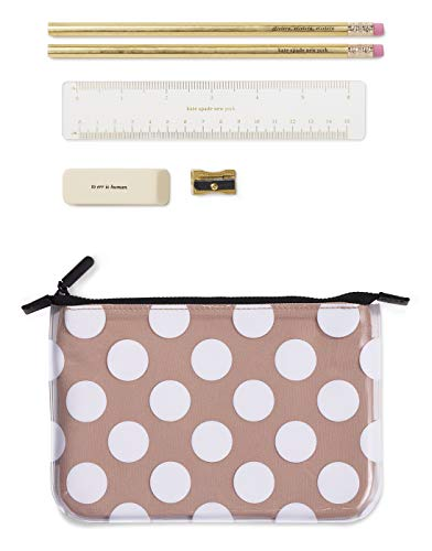 Kate Spade New York Double Layer Pencil Pouch, Includes 2 Pencils, Sharpener, Eraser, Ruler, Jumbo Dot