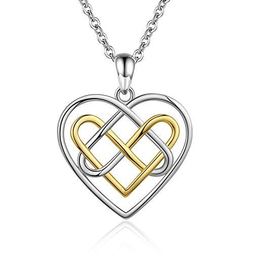 Bolelis Celtic Knot Heart Necklace - 925 Sterling Silver Good Luck Irish Celtic Knot Love Heart Pendant Necklace Trinity Eternity Love Jewelry Gifts for Mom,Women,Girlfriend, Wife