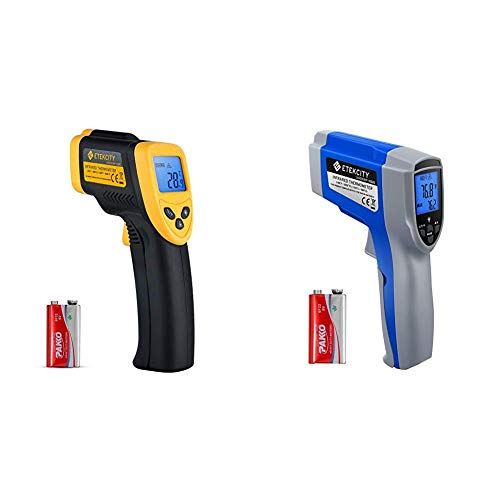 Etekcity Lasergrip 1080 Non-Contact Digital Laser Infrared Thermometer Temperature Gun -58℉~1022℉, Yellow and Black & Lasergrip Dual Laser (Human) Infrared Thermometer 1022D, Blue & Gray