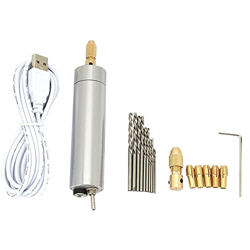 Precision Mini Hand Drill Electric USB Handheld Drill Micro Drill Bits with Bits Replaceable Chuck for DIY Model Resin Jewelry Walnut Wood Crafts Drilling Tool